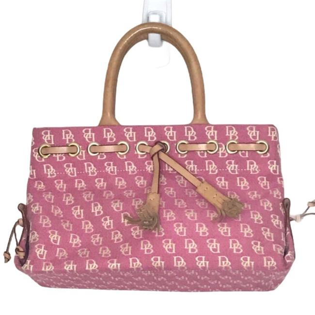 Item - Handbag Signature Satchel Pink White Canvas Baguette