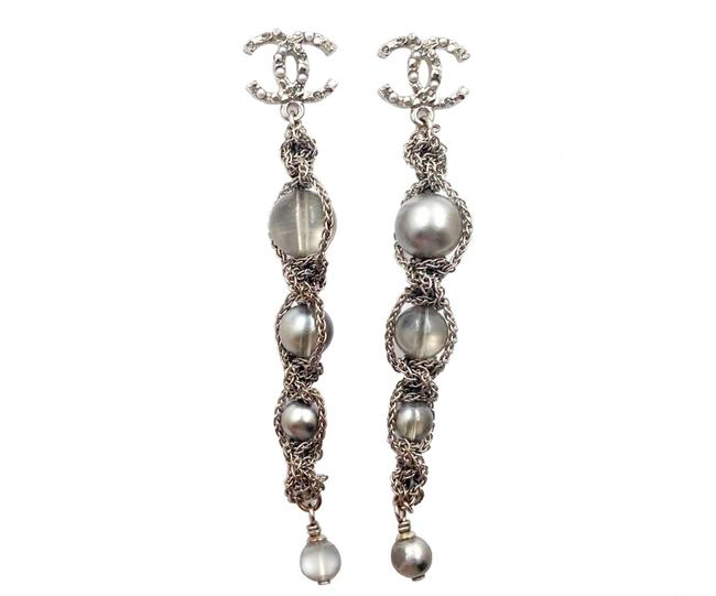 Chanel Silver Grey Gold Cc Pearl Crystal Piercing Earrings Chanel Silver Grey Gold Cc Pearl Crystal Piercing Earrings Image 1