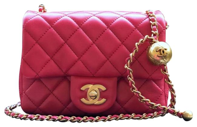 Item - Classic Flap Rare Pearl Crush Square Quilted Lambskin Mini Red Pink Leather Cross Body Bag
