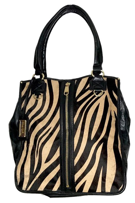 Item - Leopard Leather Black & Tan Hobo Bag