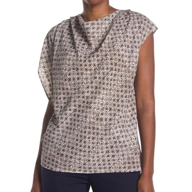 Item - Brown and White Geometric Pattern Asymmetric Sleeve Blouse Size 4 (S)