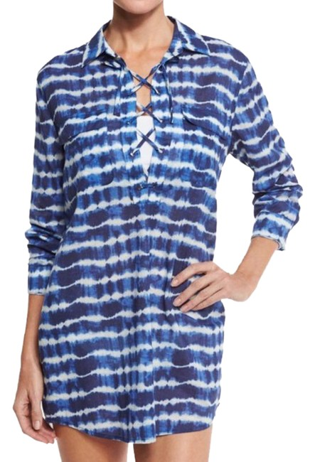 Item - Blue White Ziggy Lace Up Printed Tie Dye Cotton Cover-up/Sarong Size 12 (L)