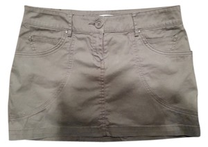 Mango Cotton Mini Skirt green/gray