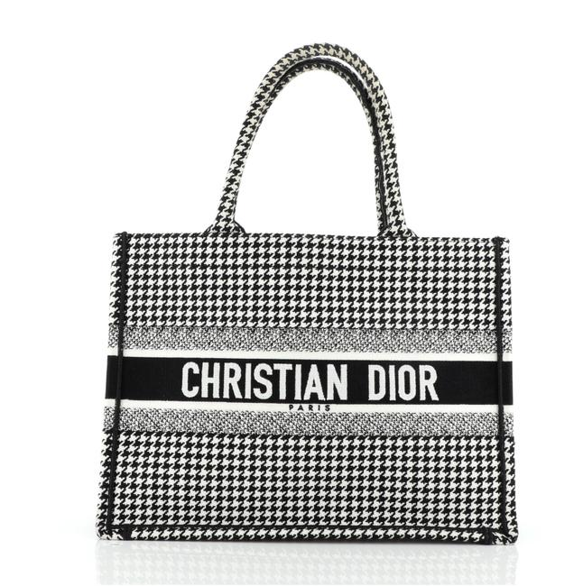 Item - Book Houndstooth Small Black White Canvas Tote
