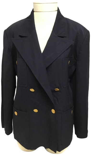 Item - Navy Double Breasted Jacket with Gold Buttons Blazer Size 12 (L)