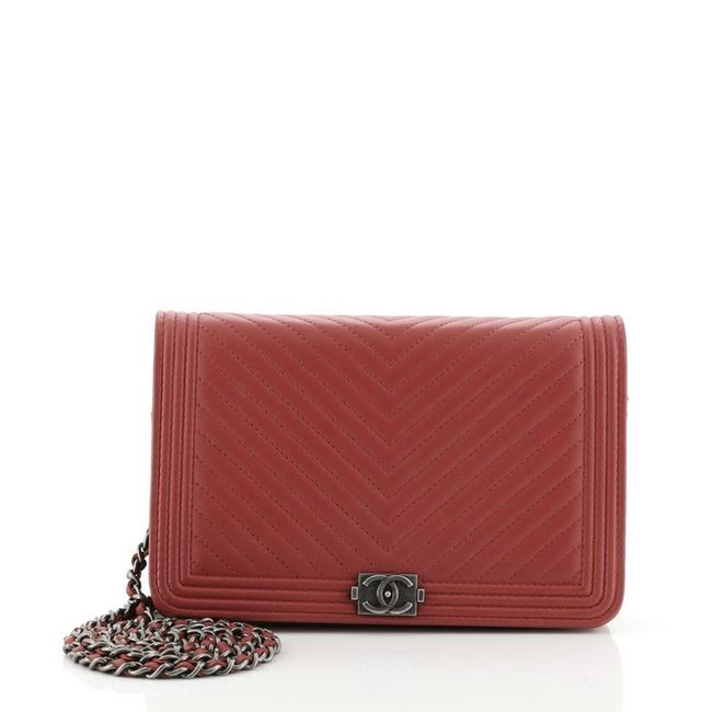Item - Boy Wallet on Chain Chevron Calfskin Red Leather Cross Body Bag