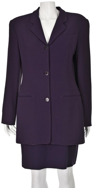 Item - Eggplant Purple 3-piece Lightweight Wool Skirt And Pant Suit Size 6 (S)