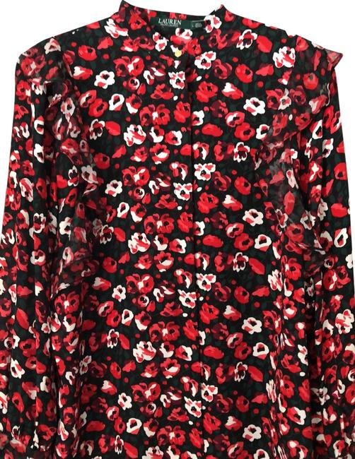Item - Red Multi (W/ Black Green White Pink) Women's Ruffled Floral Print Georgette Blouse Size 12 (L)