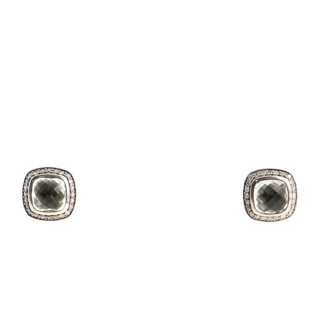 Item - 14k White Gold Albion Stud Sterling Silver with Prasiolite and Diamonds 7mm Earrings