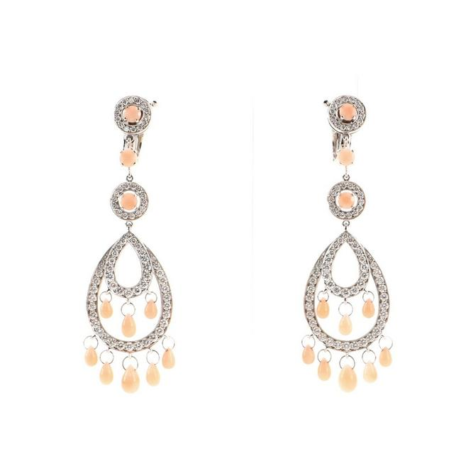 Item - 18k White Gold Cinna Pampilles Chandelier and Diamonds Earrings
