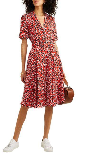 Item - Red/Black Belted Heart Print Midi Mid-length Short Casual Dress Size 2 (XS)
