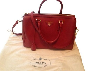 Prada Saffiano Leather Cross Satchel in red