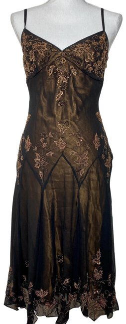Item - Gold Slip Beaded Silk Mid-length Night Out Dress Size 4 (S)