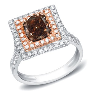 14k White Gold 1 3/4ct Tdw Cushion Brown Diamond Ring (h-i Si1-si2)