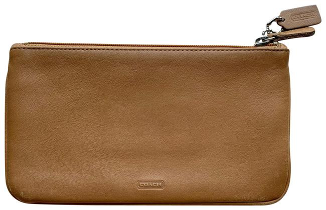 Item - Tan Vintage Leather Skinny Kit Pouch Cosmetic Bag