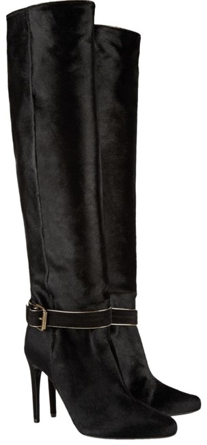 Item - Black Leather-trimmed Pony Hair Knee Boots/Booties Size EU 37.5 (Approx. US 7.5) Regular (M, B)