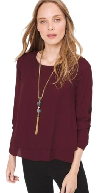 Item - Red Burgundy Layered Blouse Size 0 (XS)