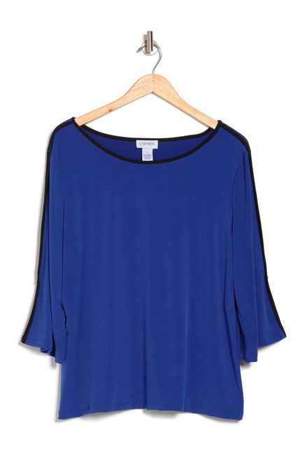Item - Royal Blue and Black Boat Neck with Contrast Trim Blouse Size 6 (S)