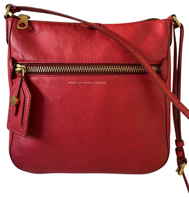 Item - Red Cowhide Leather Cross Body Bag