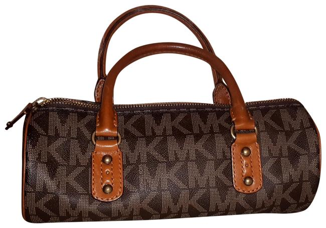 Item - Brown/Beige The Brown Beige Logo with Tan Leather Handles & Trim Monogram Coated Canvas Baguette
