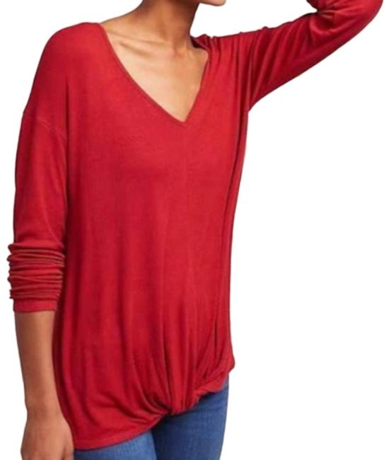 Item - Red Twist Bordeaux Ribbed Front Long Sleeve Tee Shirt Size 2 (XS)