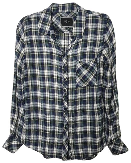 Item - Blue Small S Hunter Plaid Green Long Sleeve Button-down Top Size 4 (S)