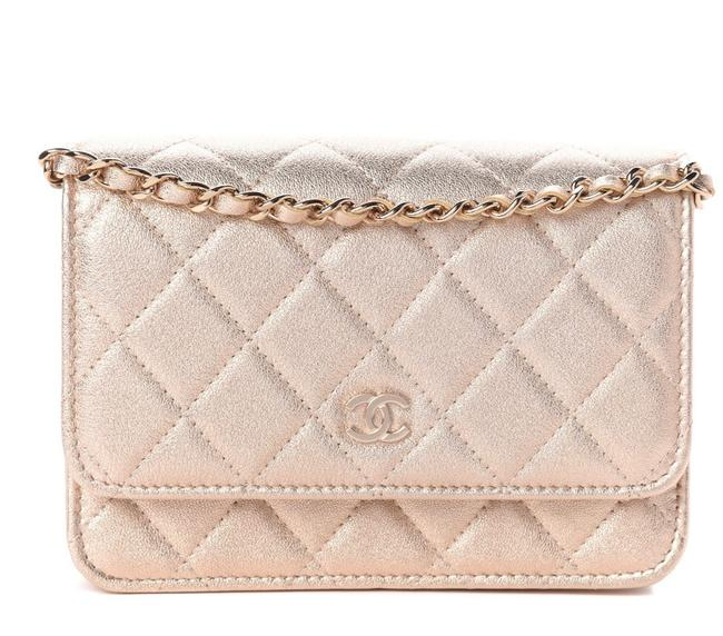 Item - Wallet on Chain Mini Woc Gold Leather Cross Body Bag