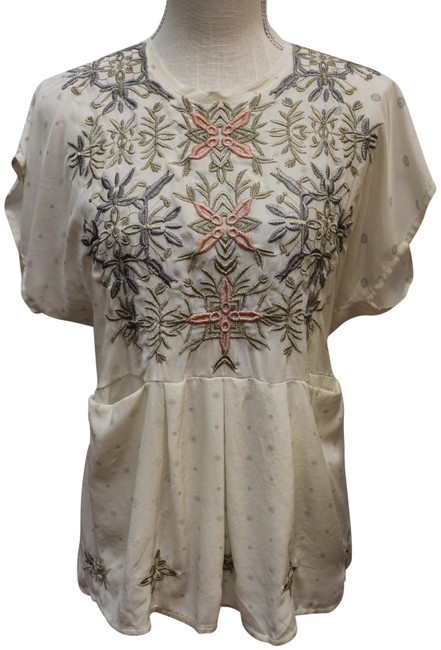 Item - Cream Embroidered Tie Back Blouse Tunic Size 6 (S)
