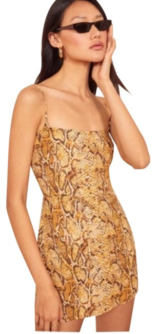 Item - Gold Snake Print Mini Short Casual Dress Size 14 (L)
