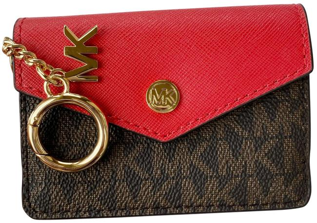 Item - Red Kala Keychain Card Case Brown Mk Signature Pvc Leather Flame Wallet