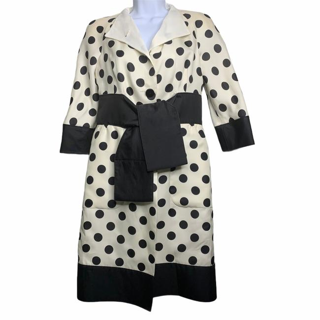 Item - Cream Classic Polka Dot Button Mid-length Formal Dress Size 4 (S)