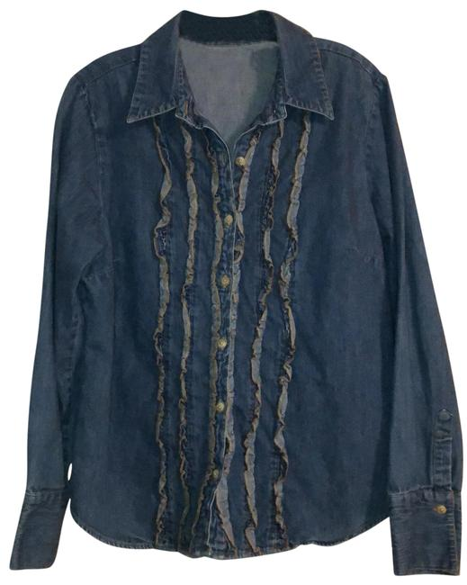 Item - Blue Denim Vintage Ruffled Tuxedo Style Button-down Top Size 12 (L)