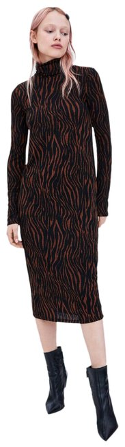 Item - Brown/Black Textured Weave High Neck Long Sleeve New Bodycon Stretch Mid-length Work/Office Dress Size 8 (M)