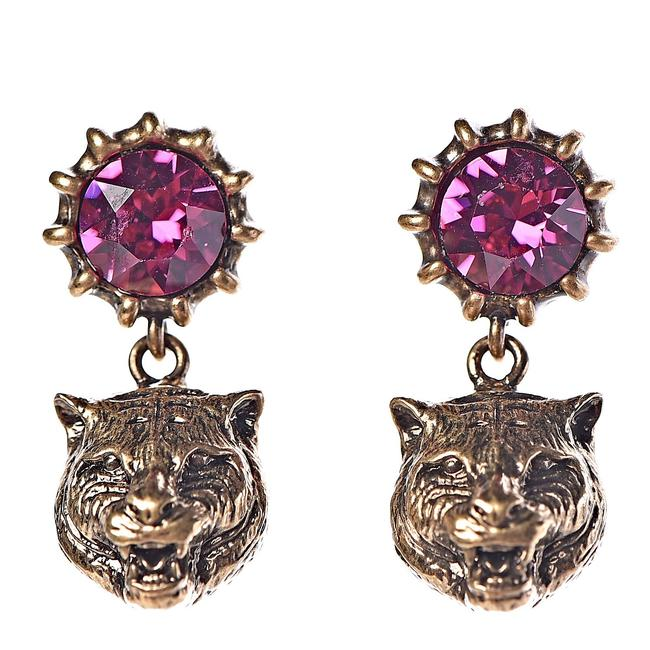 Item - Pink/Golden Feline Crystal Earrings