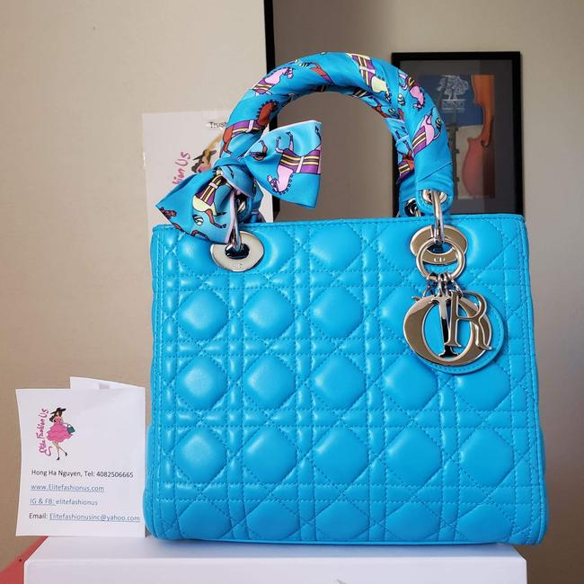 Item - Lady Ultra Blue Lambskin Leather Tote