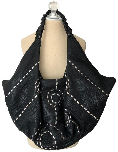 Item - Large Stitch Work Black and Silver Leather Hobo Bag