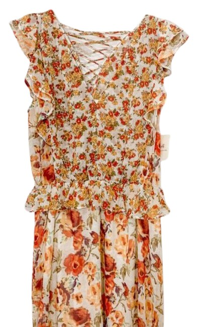 Item - Multi-color Fig & Flower Ruffled Floral Midi Mid-length Short Casual Dress Size 8 (M)