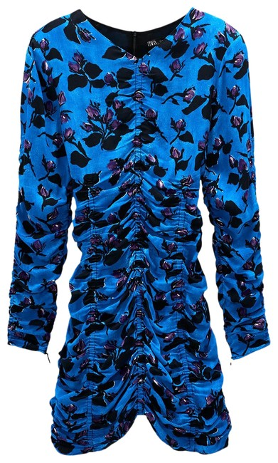 Item - Blue XS Draped Floral Print Mini Long Sleeves New Short Night Out Dress Size 6 (S)