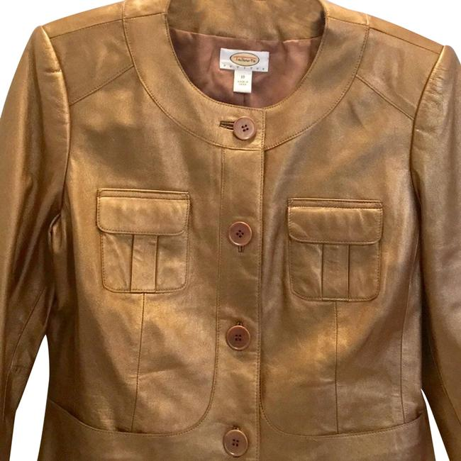 Item - Gold Leather Cropped Lined Petites Coat Size 10 (M)