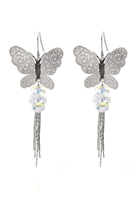 Item - Silver Butterfly Fringe Swarovski Crystal Earrings