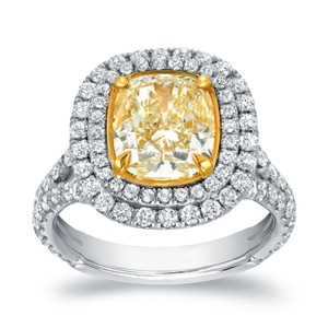 18k Two-tone Gold 4 1/5ct Tdw Certified Cushion-cut Double Halo Fancy Yellow Diamond Engagement Ring (vs1-vs2)