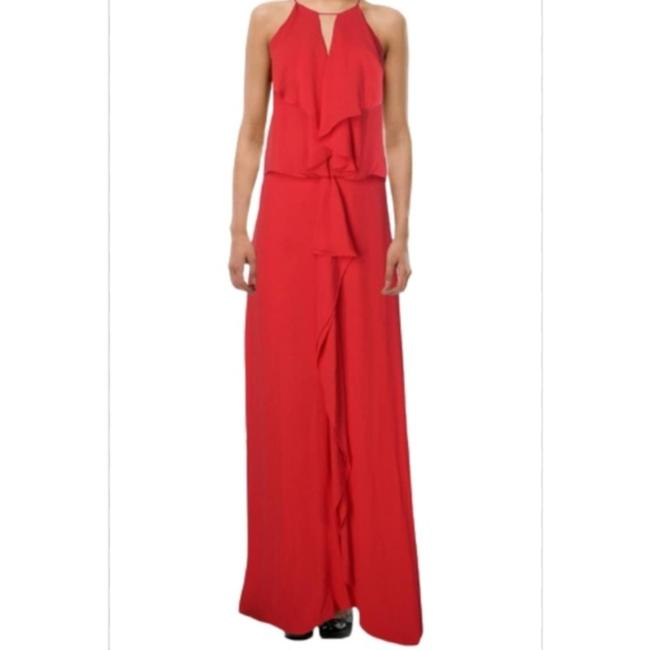 Item - Coral Red Janisa Halter Neck Ruffle Long Cocktail Dress Size 10 (M)
