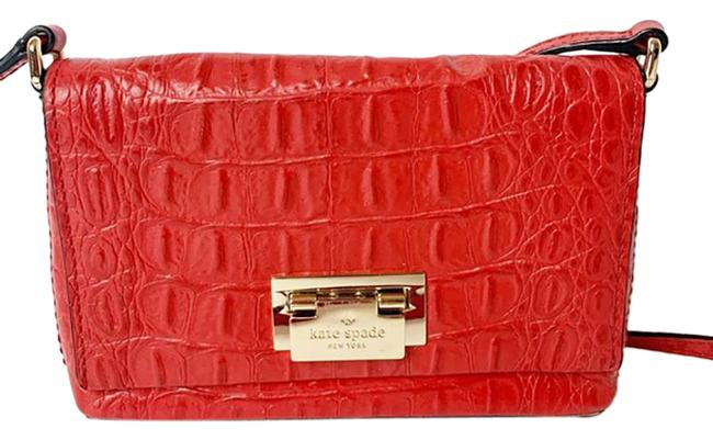 Item - Purse Red Croc Leather Cross Body Bag