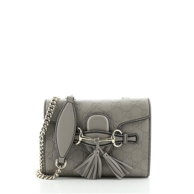 Item - Shoulder Flap Emily Chain ssima Mini Gray Leather Cross Body Bag