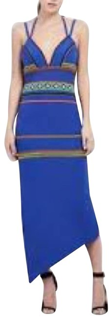 Item - Blue Strappy Beaded Asymmetrical Long Cocktail Dress Size 4 (S)