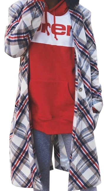 Item - Plaid Red Blue Wool Coat Size 4 (S)