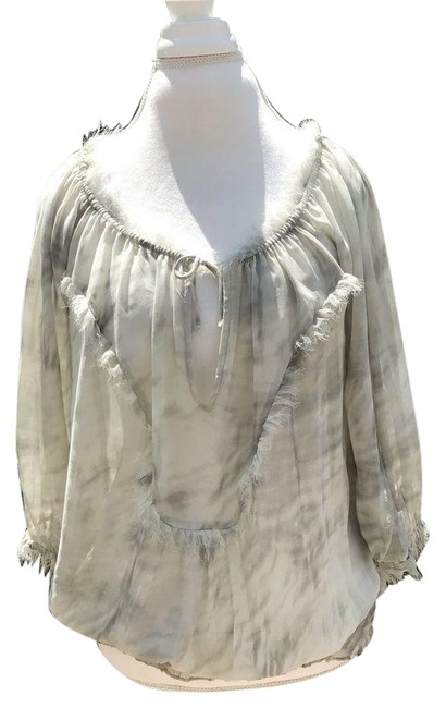 Item - Gray Sheer Bubble Sleeve Blouse Size 4 (S)
