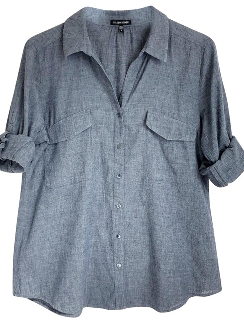 Item - Grey Na Button-down Top Size 6 (S)
