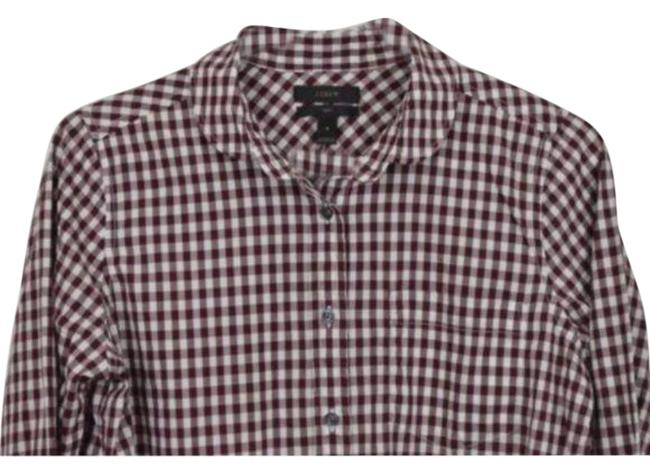 Item - Red White Button-down Top Size 4 (S)