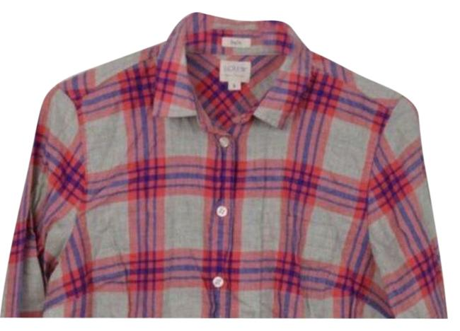 Item - Red Gray Button-down Top Size 4 (S)